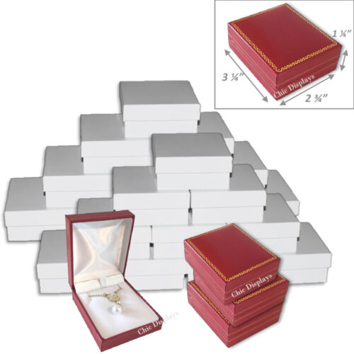 24pc Wholesale Gift Boxes for Earring Red Necklace Box Leatherette Jewelry Box