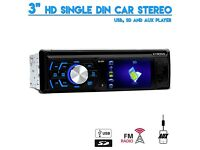 "3"" HD 720p Screen Single Din USB SD Aux In Car Stereo With FM Radio Tuner"