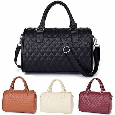 Vintage Women Faux Leather Handbag Tote Shoulder Bag Designer Quilted Handbag