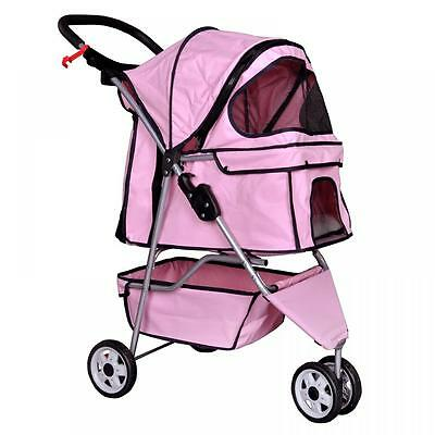 New Pink Pet Stroller Cat Dog Cage 3 Wheels Stroller Travel Folding Carrier