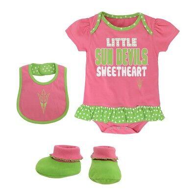 Little Devil Bib - Arizona State Sun Devils NCAA Infant Pink Little Sweet Creeper, Bib & Bootie Set