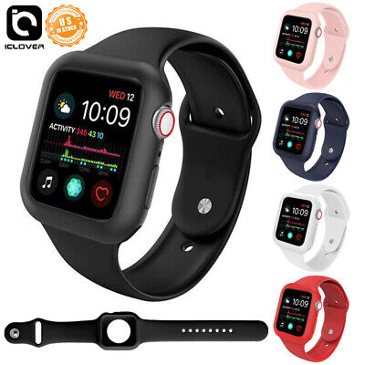 Silicon Case Protector Cover - Silicone Watch Band Case Protector Cover Strap 40/44mm For Apple Watch Series 4