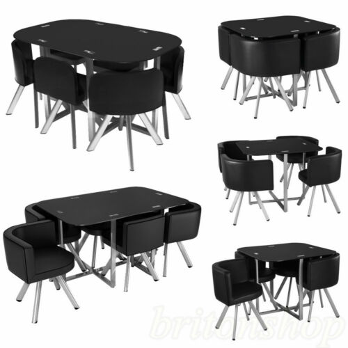 glass dining table with 4 6 chairs set round tempered glass space saver black. Black Bedroom Furniture Sets. Home Design Ideas