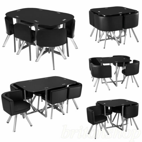 Cheap Black Dining Table And Chairs: Glass Dining Table With 4/6 Chairs Set Round Tempered
