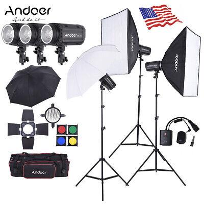 MD-300 900W Studio Strobe Flash Light Kit w/ Softbox for Video Photography V3W8