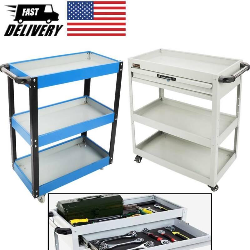 Three Tray Rolling Tool Cart Storage Organizer Mechanic Cabi