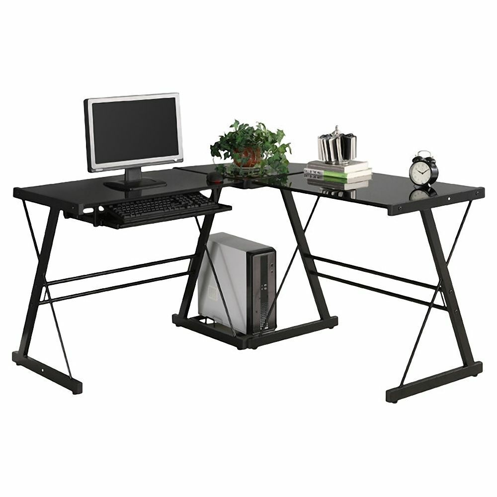 New Computer Desk PC Glass Laptop Table Workstation Corner H