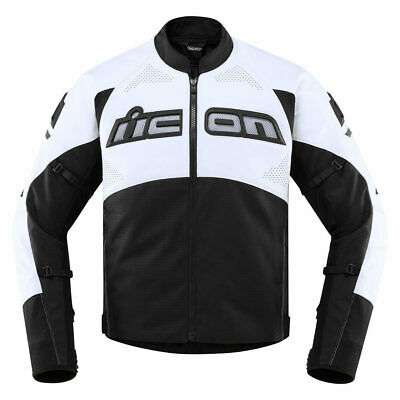 Icon Motosports Contra2 Perforated CE Leather Riding Jacket (White) Choose Size