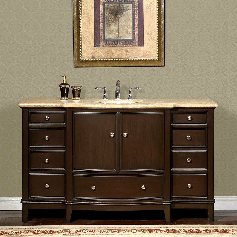 60 Inch Travertine Stone Counter Top Bathroom Single Sink Vanity Cabinet 0237tr Ebay