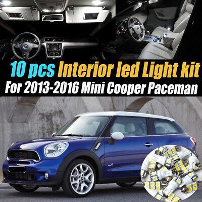 10Pc Super White Interior LED Light Bulb Kit Pack 2013-2016 Mini Cooper Paceman
