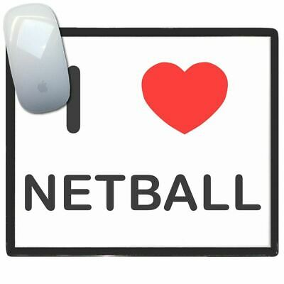 I Love Heart Netball - Thin Pictoral Plastic Mouse Pad Mat Badgebeast