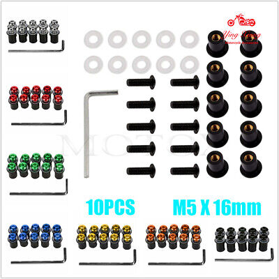Universal M5 5MM Windscreen Windshield Fairing Bolts Body Work Screws Nut Kit