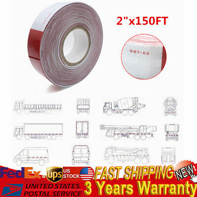 2x150 Dot-c2 Reflective Red And White Conspicuity Safety Tape Trailer 1 Roll