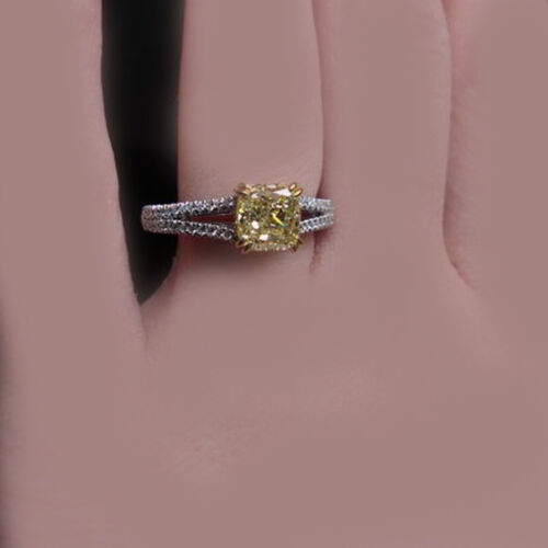 Fancy Yellow Cushion & Round Cut GIA Certified 2 CT Diamond Engagement Ring 18k