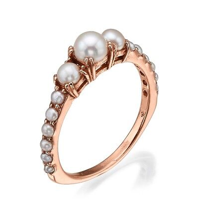 14k Rose Gold Pearl Engagement Ring, June Birthstone Ring, Pearl Cluster Ring   (14k June Birthstone Ring)