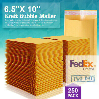 250 Pack 0 6.5x10 X- Wide Kraft Bubble Mailers Padded Envelopes Bags Cd Dvd Usa
