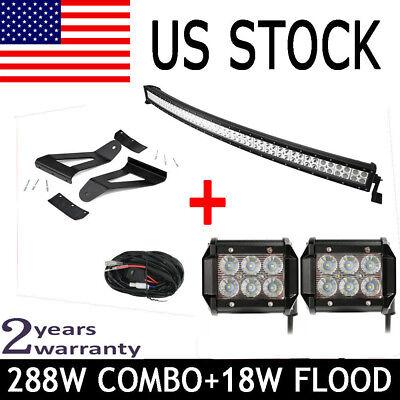 "50"" Curved Led Light Bar+2x 4"" Pods Flood+Harness+84-01 Jeep Cherokee XJ Bracket"