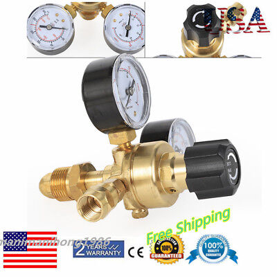 2 Dual Gauges Mig Flow Meter Control Valve Welding Regulator Pressure Reducer