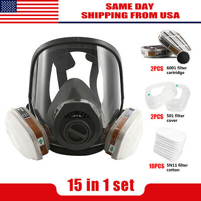 Full Face Gas Mask Facepiece Respirator For Painting Spraying 15 In 1 Set