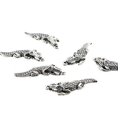10pcs DIY Crocodile Beads Charms Tibetan Silver Alloy Pendant Necklace Making
