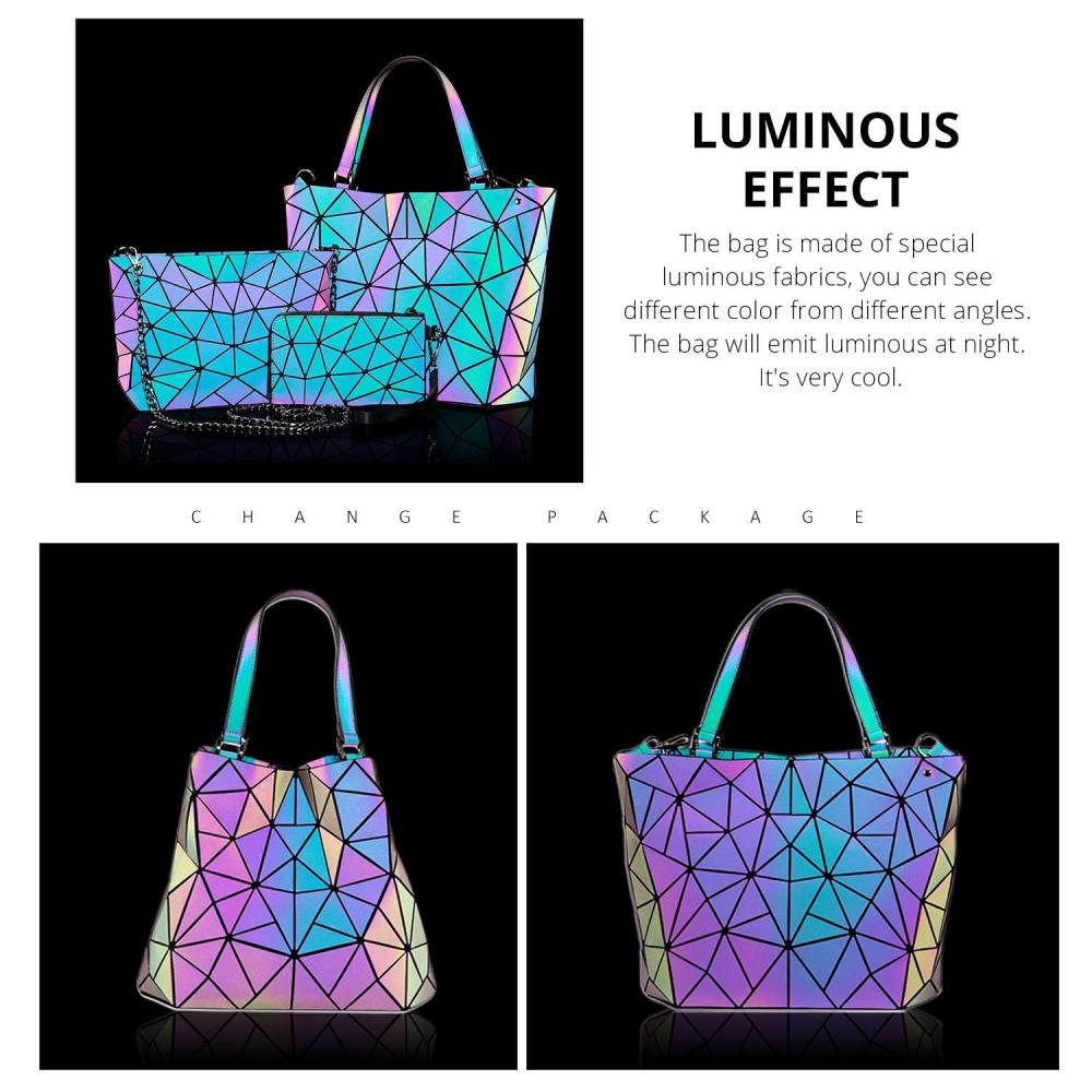 8cc177636cffe 3 x Geometrische Damen Taschen leuchtende Handtasche Schultertaschen ...