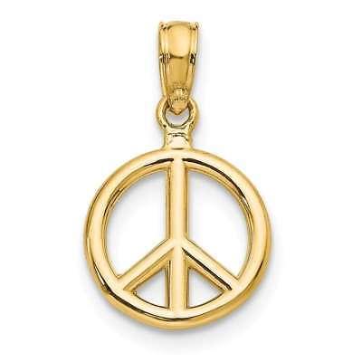 14K Yellow Gold Polished Peace Symbol Pendant