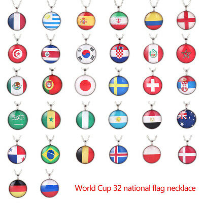 Unisex Collare Pendant Necklace Flag Glass FIFA World Cup National Jewelry Chain