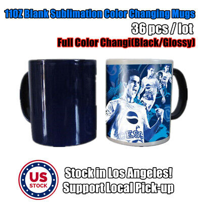 Usa 36pcs 11oz Black Glossy Magic Cup Blank Sublimation Full Color Changing Mugs