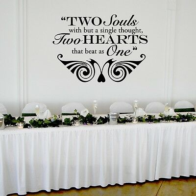 Two Hearts that Beat as One Wedding Wall Decor Vinyl Sticker Decal 22