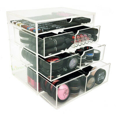 NEW! MOLDED MAKEUP ORGANIZER - ACRYLIC 4 TIER DRAWER COSMETIC DISPLAY CASE