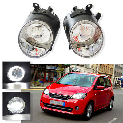 Angel Eye CREE White Halo Ring LED DRL Lens Fog Driving Lights for VW Skoda Seat