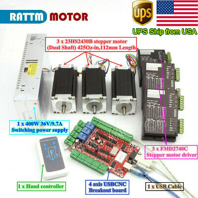 In Usausb Cnc Controller Kit 3 Axis Nema23 Stepper Motor 425oz.indriverpower