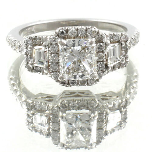Platinum Diamond Radiant Cut Engagement Ring GIA Certified 3.50 Carat