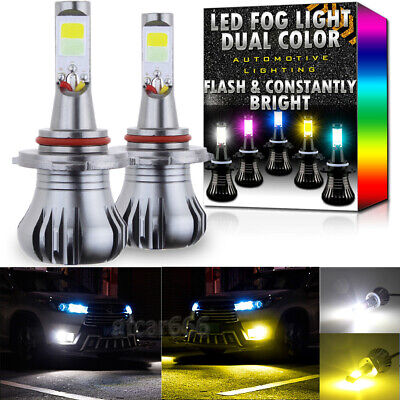 9005 9145 H10 Upgrade LED Fog Light Bulb Dual Color w/ Flash Mode White +