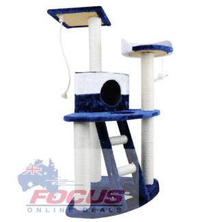 Cat Scratching Poles Post Furniture Tree House Condo Blue/White
