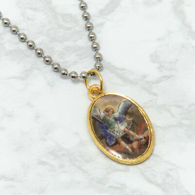 Saint St Michael Gold Plated Oval Picture Medal Pendant Necklace 24