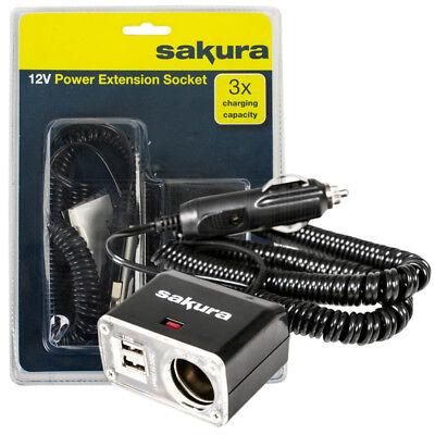 Car 12v 1 Way Socket Extension Cigarette Lighter Plug Twin USB Charger Ports