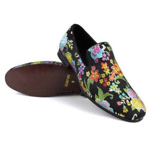 Mens Slip On Black Multi Color Floral Print Design Dress Shoes Loafer AZARMAN