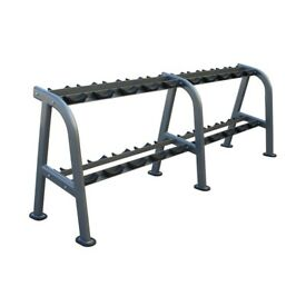 DUMBBELL RACK WITH RUBBER FEET - EX DEMO - ALEX 10 PAIR - Commercial Grade