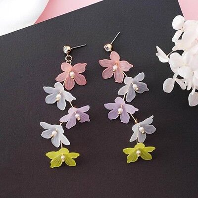 (Charm Women Dangle Long Earring Colors Fashion Pearl Earrings Flower Simulated)