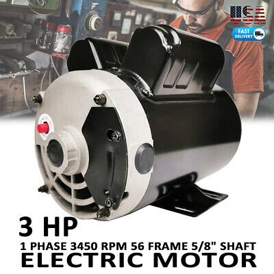 3 Hp Compressor Duty Motor 1 Ph 3450 Rpm 56 Frame 58 Shaft 230v 15f.l.a 60hz