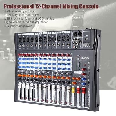 ammoon 12 Channel Digtal Mic Line Audio Mixer Console 48V Ph