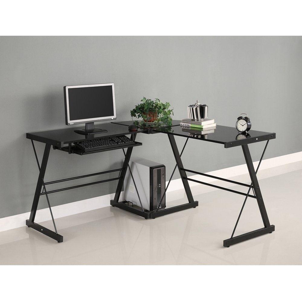 Black Office Desk Wooden L Shape Good Condition