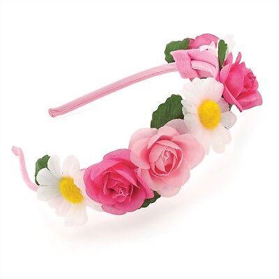 PINK TONAL ROSE & DAISY FLOWER HEADBAND WEDDING PROM FESTIVAL HAIR HEAD BAND