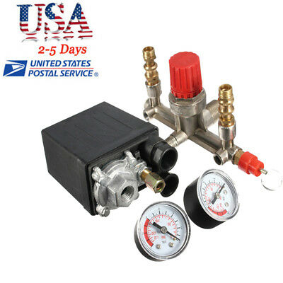 Us Air Compressor Pressure Control Switch Valve Manifold Regulatorgauges Relief