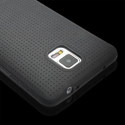 Slim Rubber Soft Silicone TPU Case Cover Film Black For Samsung Galaxy Note 4 (Black Silicone Case Film)