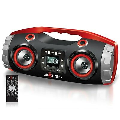 BLUETOOTH PORTABLE STEREO BOOMBOX CD MP3 PLAYER REMOTE SUBWOOFER USB FM RADIO