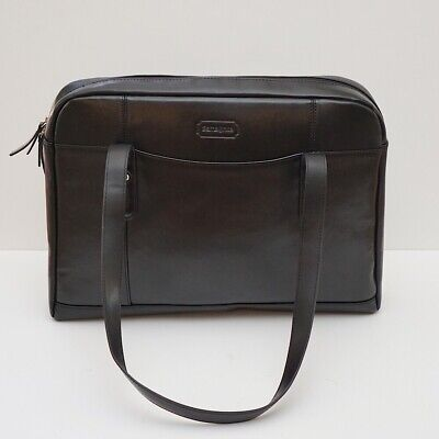 "Samsonite Black Leather Slim Tote Brief Laptop Bag fits up to 15.6"" laptop"