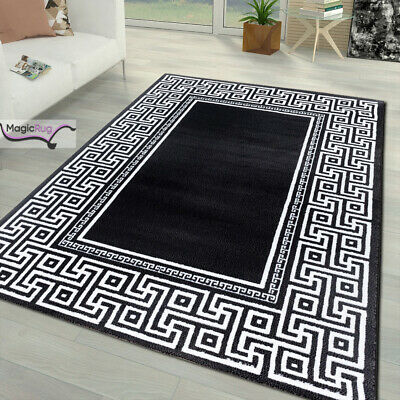 Black Oriental Rug Modern Versace Style White Pattern Soft Large XL Small Carpet