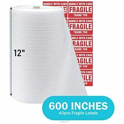 1-pack 12 X 600 In Foam Sheets Wrap Roll For Moving Shipping Packing Supplies
